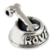 Dog Bone in Bowl 3D Sterling Silver Charms